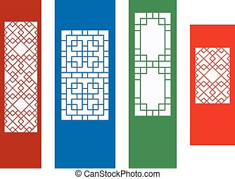 Korean ornament for wall, and window in flat, vector
