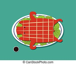 Barbecued suckling pig in flat style, vector design