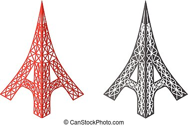 Eiffel tower icons in isometric style, vector