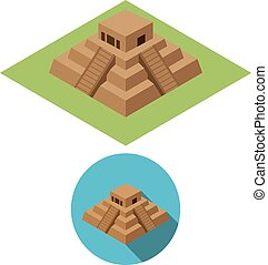 Chichen Itza icons in isometric style, vector design