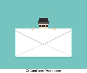 Thief hide behind phishing mail, vector design