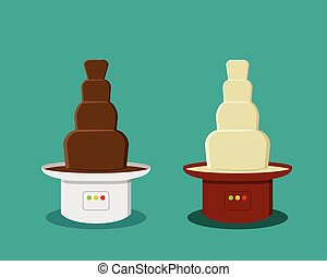 Cheese and Chocolate Fondue in flat style, vector design