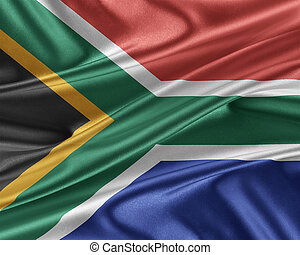 South Africa flag with a glossy silk texture. - South Africa...