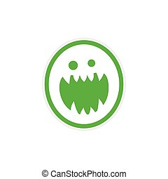 Sticker bright monster with sharp teeth on a white...
