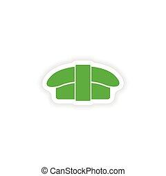 icon sticker realistic design on paper sushi