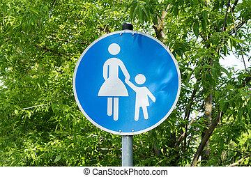 Pedestrians - blue Traffic sign with pedestrians