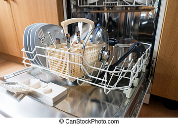clean dishes and cutlery in the dishwasher
