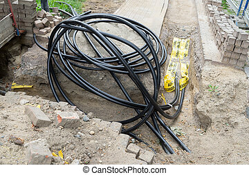 Power cable - Construction site and installation of many...