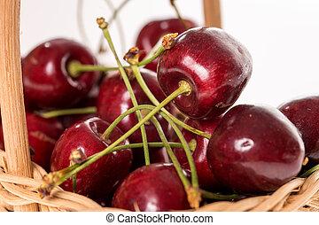 Cherries - many cherries in a basket
