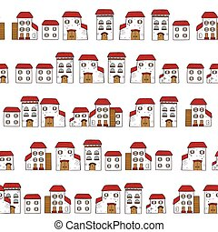 Vector seamless cartoon pattern, made of collection houses in old European style. Isolated white facades and red roofs.