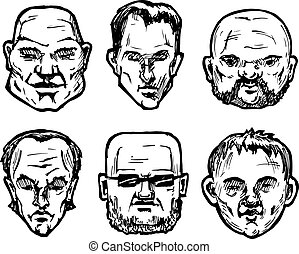 Forms of a male face - Set of different man's faces. Vector...