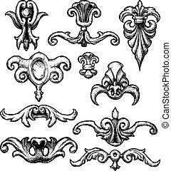 Baroque and renaissance decorative design elements