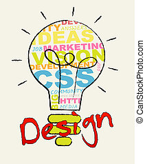 Design Lightbulb Showing Digital Art 3d Illustration -...