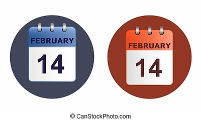 Valentine s day, calendar icon in two variants