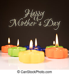 happy mother`s day - Background with candles and text happy...