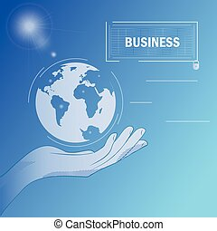 Business hand - poster - Vector background with the image of...