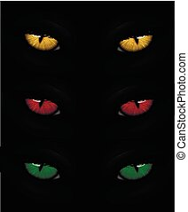 Set of cat eyes red, yellow and green - Set of cat eyes in...