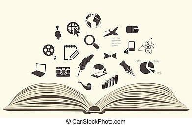 icons drawn from an open book