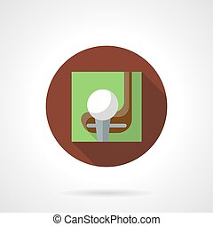 Golf game brown round vector icon - Playing golf concept....