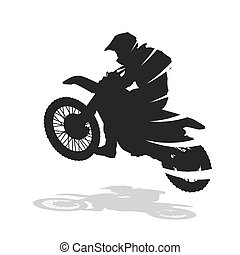 Motocross racing, abstract vector silhouette. Motocross bike jumping. Motorcycle racer