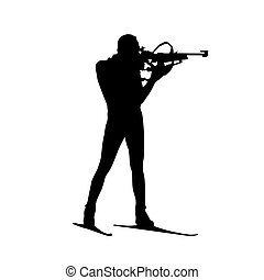 Biathlon athlete shoots standing, isolated vector silhouette