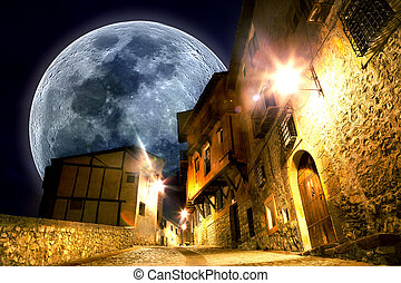 Fancy and fantasyscenery.full moon landscape - Dreamscape...