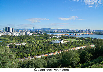 CItyscape of Mapo-gu with Skyscrapers, World Cup Park and...