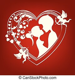 the silhouette of a heart with two lovers