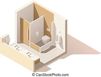 Vector isometric low poly public toilet icon - Vector...