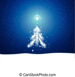 winter blue background with blizzard and stars - Christmas...