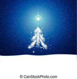 bleu, étoiles, fond, hiver, tempête neige