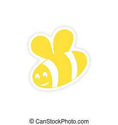 icon sticker realistic design on paper bee