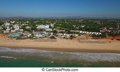 aerial. Beaches Recreation Area Vale de Lobo, filmed from...