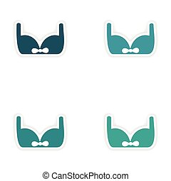 assembly realistic sticker design on paper brassiere