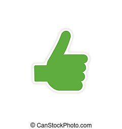 icon sticker realistic design on paper hand finger