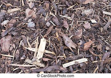 Bark mulch - many bark mulch in a garden