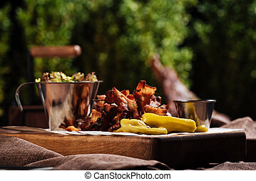 Close up of a tray with food standing in restaurant