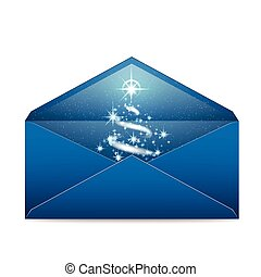 Christmas blue envelope with stars and blizzard