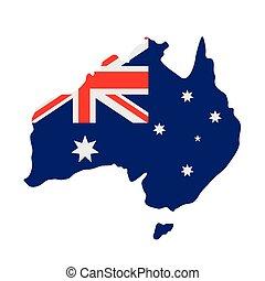 Australian flag on map