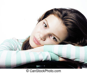 Real Teenage Girl Looking Worried isolated on white...
