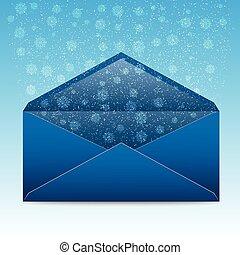 bleu, enveloppe, Flocons neige, tempête neige, noël
