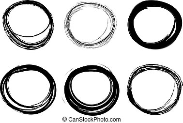 Hand-drawn scribble circles - Set of hand drawn scribble...