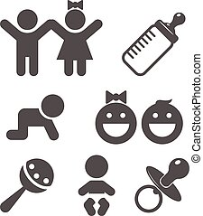 Baby flat icon. Vector logo for web design, mobile and...