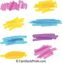 Highlighter marker strokes - Set of hand drawn colorful...