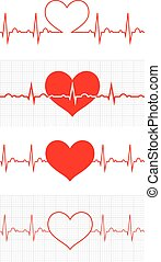 Heart beat. Cardiogram. Cardiac cycle. Medical icon. - Heart...