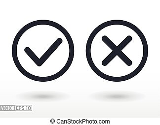 Confirm and deny flat icon. Vector logo for web design,...