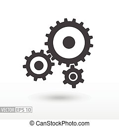Gear flat Icon. Sign gears. Vector logo for web design, mobile and infographics