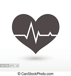 Heart beat - flat icon - Cardiac cycle flat icon. Sign...