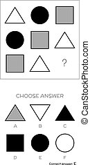 IQ test. Choose answer. Logical tasks composed of geometric...