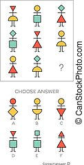 IQ test. Choose correct answer. Logical tasks composed of...